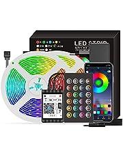 Khaco Smart Wifi LED RGB Strip Lights 16,4 pés. Luzes que mudam de cor 5050 com voz e APP e 24 teclas de controle remoto Luzes de fita de decoração de Natal para festival de festas em casa