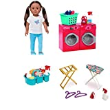 HOLIDAY BUNDLE !! My Life As 18-inch Everyday Girl Doll, African American AND My Life As Laundry Room Play Set AND My Life As Dolls Ironing Accessories AND My Life As Cleaning Caddy