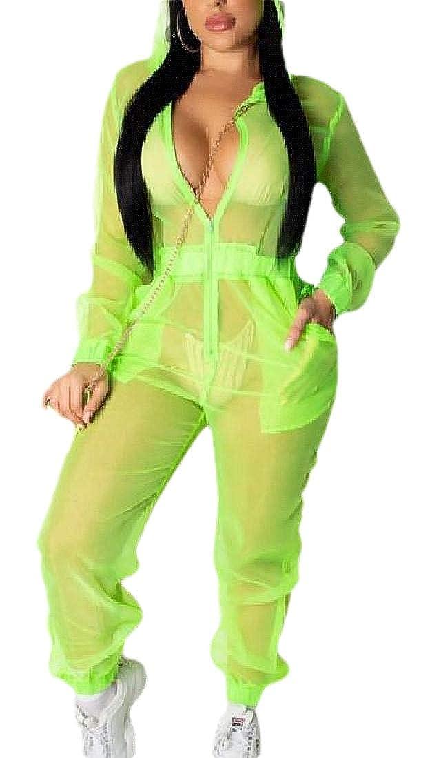 ouxiuli Women Mesh See Through Long Sleeve Hoodies Jumpsuit Romper