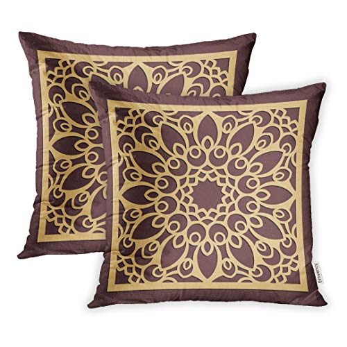 Floral Pattern Favor Boxes - Emvency 16x16 Inch Decorative Throw Pillow Cover Set of 2 Laser Cutting Panel Golden Floral Pattern Favor Box Silhouette Coaster for Metal Square Home Cushion Sofa Two Sides Pillow Case