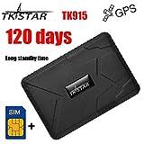 TKSTAR GPS Tracker for Vehicles,(Free SIM) 120 Days Long Standy Car GPS Tracker Strength Magnet For Motorcycle Trucks Anti Theft Alarm TK915