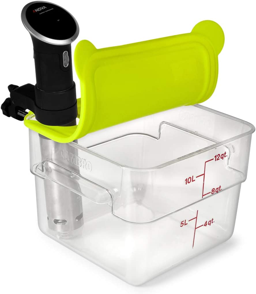 EVERIE Silicone Lid Compatible with Cambro Sous Vide Container 12 Qt and Anova Sous Vide Cooker (Corner Mount)