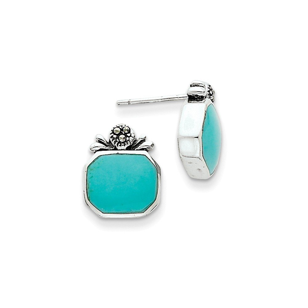 .925 Sterling Silver 14 MM Polished Synthetic Turquoise Post Stud Earrings