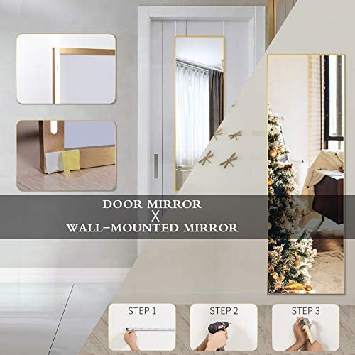 BEAUTYPEAK Full Length Mirror 16'' x 50'' Aluminum Alloy Over The Door Mirror Large Hanging Mirrors Wall Mounted Body Dressing