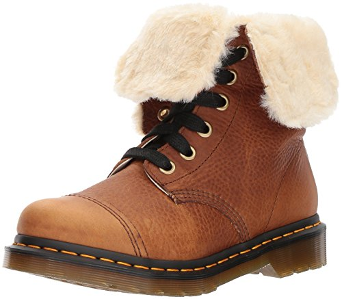 Dr martens Womens Aimilita 9-eyelet Fur Lined Leather Boots Marron