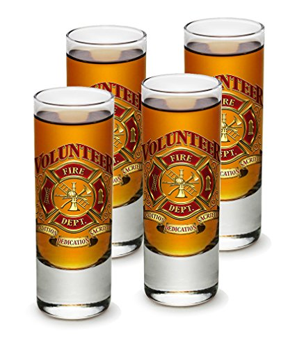 SET OF 4 Firefighters Volunteer Fire Dept. 2 Ounce Shooter S
