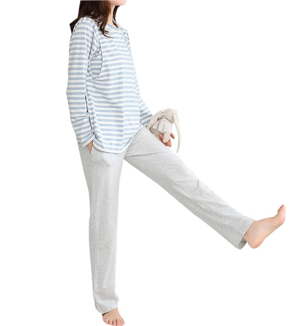 zhbotaolang Frauen Still Pyjamas Sets Schwangerschaft Stillen Gestreifte Nachtwä sche zhu hai bo tao lang shang mao you xian gong si