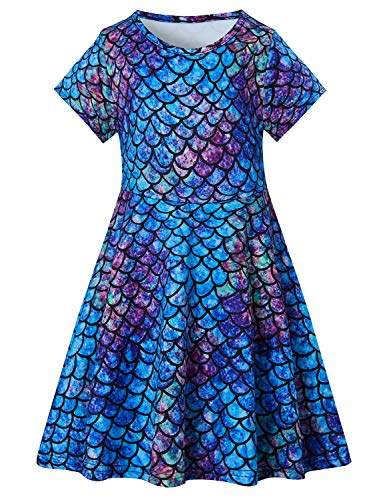 - 6T Mermaid Dress Girls 90S Sequin Sundress Toddler Birthday Party Outfits Short Sleeve Easter School Dresses Swing Summer Sun Beach Apparel Blue Size 7