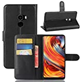 Taslar Leather Wallet Magnetic Clip Stand Flip Back Cover Case For Xiaomi Mi Mix 2,(Black)