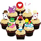 Alice in Wonderland Edible Cupcake Toppers Party Pack - Stand-up Wafer Cake Decorations by Made4You