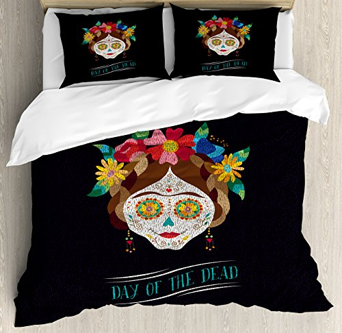 Day of the Dead Duvet Cover Set King Size by Ambesonne, Hispanic Holiday La Calavera de la Catrina Inspired Hairstyle and Make Up, Decorative 3 Piece Bedding Set with 2 Pillow Shams, Multicolor