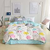 VClife Modern Duvet Cover Full/Queen Cartoon Clouds Printed Bedding Sets - White Blue Reversible Bedding Comforter Cover Sets for Kids Teens Adults, Best Gift for Beloved, Luxury, Durable, Soft, Queen