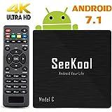 4K Android 7.1 TV Box – SeeKool 2018 Model C Smart TV Box with 1G RAM 8G ROM, Amlogic S905W Quad Core 64 Bit, 4K Ultra HD, Built-in WIFI, USB Port, HDMI & AV Output Media TV Player