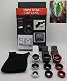 New Simi Technology Cell Phone Clip on Lens w/ Fish Eye, Macro & Wide Angle for Iphone, Ipad, Samsung & Tablet (Black)