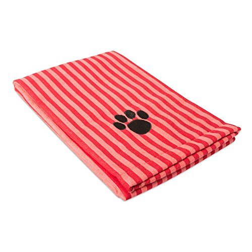 DII Bone Dry Microfiber Pet Bath Towel with Embroidered Paw Print, 44x27.5, Ultra-Absorbent & Machine Washable for Small, Medium, Large Dogs and Cats-Red Stripe