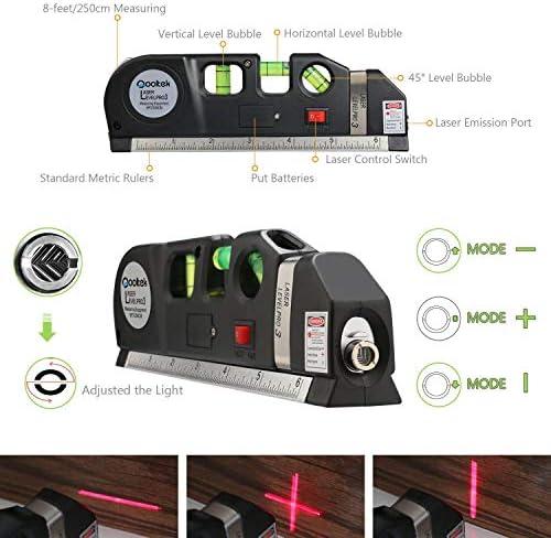 Qooltek Multipurpose Laser Level Laser Line 8 feet Measure Tape Ruler Adjusted Standard and Metric