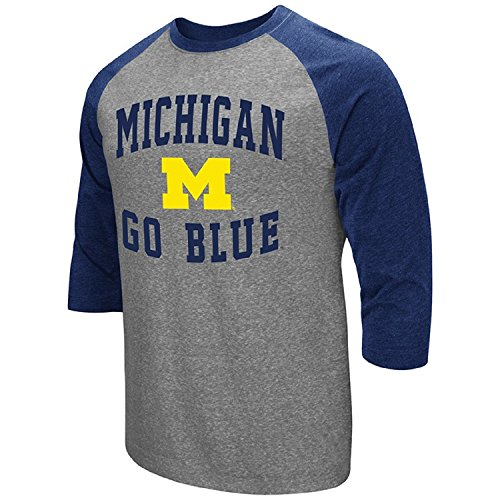 (Colosseum Men's NCAA-Raglan-3/4 Sleeve-Heathered-Baseball T-Shirt-Michigan)