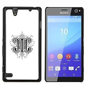M Letra inicial Caligrafía Arte Diseño- Metal de aluminio y de plástico duro Caja del teléfono - Negro - Sony Xperia C4 E5303 E5306 E5353