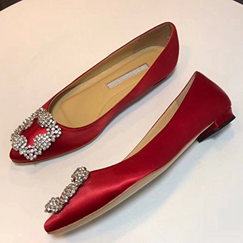15 Full Chris Pumps Heel On Slip Stiletto Pumps T Red High Jeweled Satin Toe Pointed Sole US flats Diamonds 4 Women's Evening qCpwUq4xB