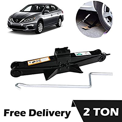 1Pcs Scissor Jack 2 Ton Black with Crank Handle for Nissan Altima Sentra Sylphy Versa - Vehicle Car Van Truck Tire Lift Changing Emergency Tools