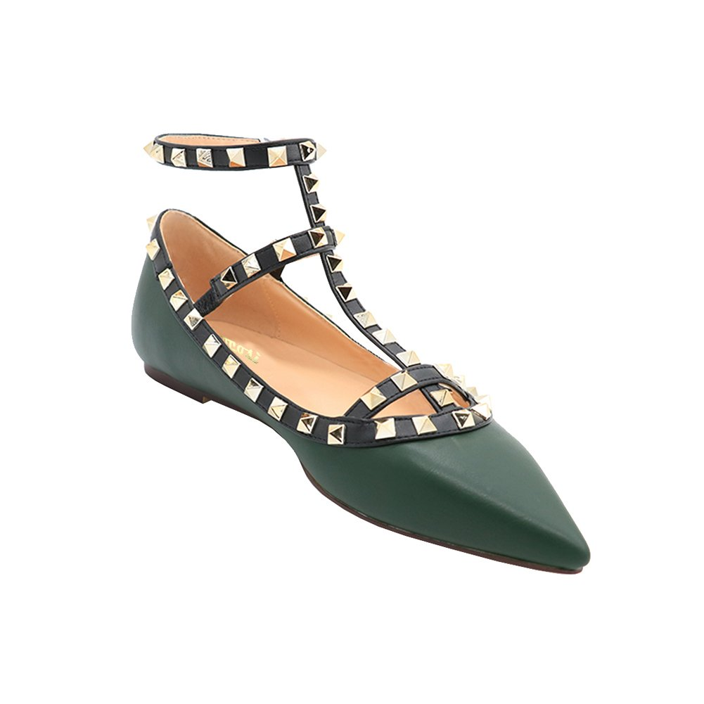VOCOSI Women's Ankle Strap Studded Pointed Toe Pumps Pumps Rivets T-Strap Flat Pumps Toe Dress B0794XF9DK 8 B(M) US|Green(manmade Leather With Gold Rivets) 487faa