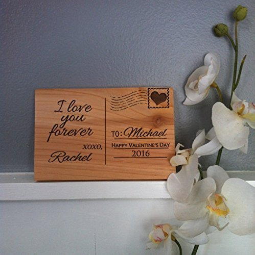 Wood Postcard-Personalized gift-Valentine's Gift-Customized Love Card-Wooden Letter-Gift For Him- Gift for Her-Engraved Wooden Sign (Best Valentines Cards For Him)