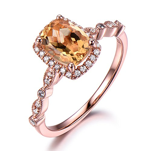 Yellow Citrine Engagement Ring Rose Gold 925 Sterling Silver CZ Cubic Zirconia Diamond Marquise Milgrain by Milejewel Citrine engagement rings