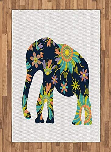 Folk Art Area Rugs 2.6'x5'ft,Ethnic Animal Print Image with Oriental Floral Ornamental Elephant Silhouette Rubber Backing Floor Carpet Throw Rug Runners for Bedroom Living Room, Multicolor (Art Area Folk Rugs)