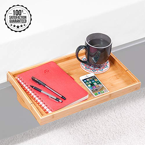 Bamboo Bed Shelf - Attachable Bedside Table Nightstand Organizer for Bedrooms, Side Bunk, Small Spaces, and Loft -Modern Contemporary Night Stand, Caddy, or Breakfast Table - Fits Most Bed Frames