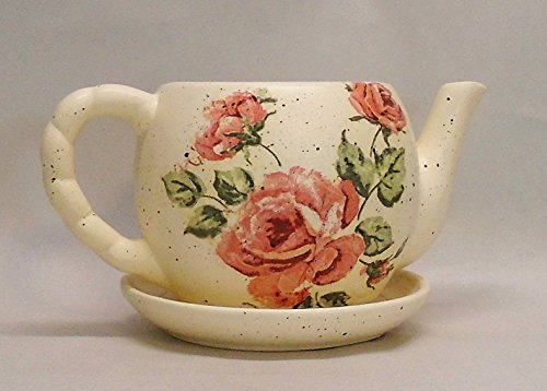 Handmade Decoupage Ceramic Teapot Planter, Succulent Pot, Vintage Pink Roses, Shabby Chic, 4