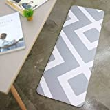 Anti Fatigue Cushion Stylish Comfort Floor Foam Kitchen and Office Mat , Waterproof, Easy to clean, Soft and Thick, Non Toxic, Reversible (Daily Diamond and Stripe, 17'' x 37'')