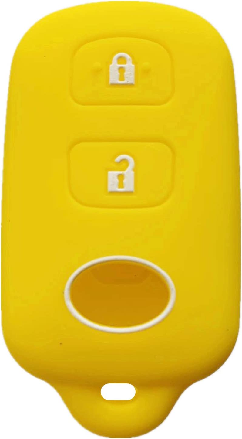 Rpkey Silicone Keyless Entry Remote Control Key Fob Cover Case protector Replacement Fit For Scion xA xB Toyota Celica Echo FJ Cruiser Highlander Prius RAV4 Tacoma Tundra Yaris HYQ12BBX (yellow)