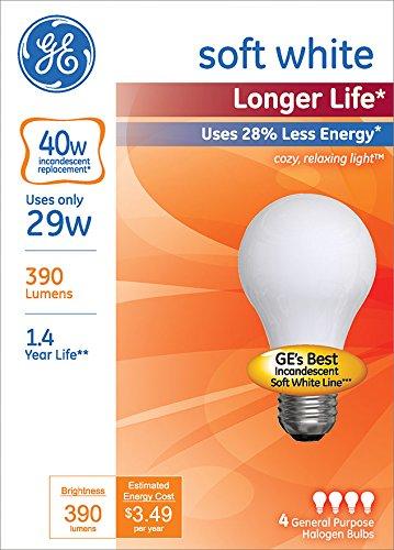 GE Lighting 70287 Soft White Long Life 29 (40-watt Replacement), 390-Lumen A19 Light Bulb with Medium Base, 4-Pack by GE Lighting (Image #2)