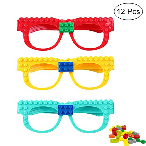 12pcs DIY Building Bricks Glasses for kids Carnival Birthday Party Favor Supplies, Fun Teens Girls Boys Party Toys Decorations