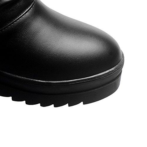 AllhqFashion Mujeres Sin cordones Tacón Medio Pu Sólido Caña Baja Botas Negro