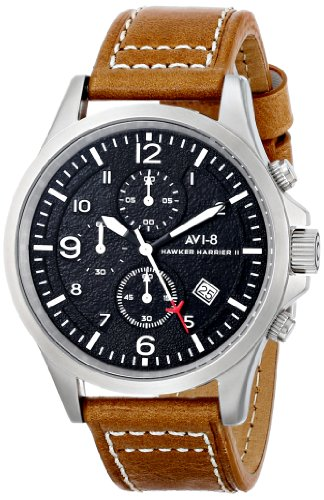 AVI-8-Mens-AV-4001-02-Hawker-Harrier-II-Stainless-Steel-Watch-with-Brown-Leather-Band