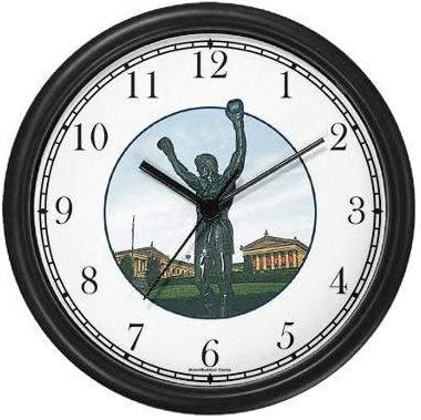 Rocky Statue Philadelphia JP6 Famous Lankmarks Clock by WatchBuddy Timepieces White Frame