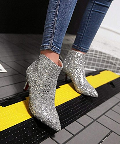 Glitter Heel Silver Booties High Shoes Pointed Coolulu Boots Womens Heel Kitten Zip Stiletto Ankle Dress Elegant Toe Sx11I8wFa