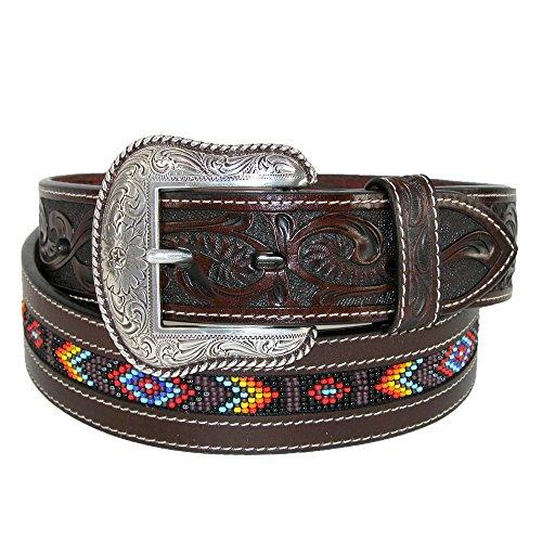 Roper Men's Hand-Tooled Beaded Silver Buckle Belt Brown 38