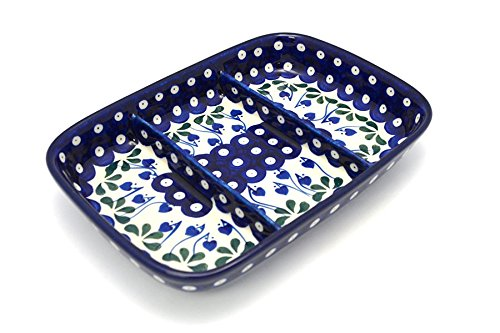 Polish Pottery Dish - Divided Rectangular - Bleeding Heart - Divided Relish Tray