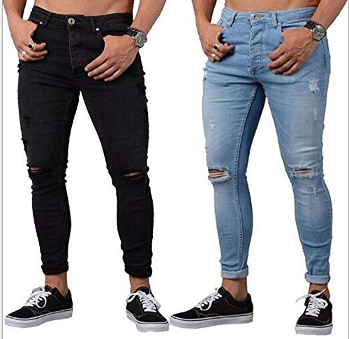 Keephen Pantalones Vaqueros Rasgados de los Hombres, Pantalones Vaqueros Pitillo de los Pantalones Vaqueros Pitillo de la Manera del Estiramiento Flaco S-3XL Negro