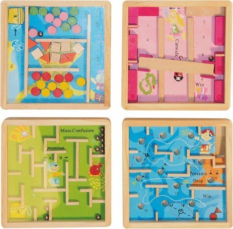 Geschicklichkeitsspiel - Geduldsspiel / Spiel Kinder - Erwachsene Holz Labyrinth - Knobelspiel - Kugel Motorikspiel