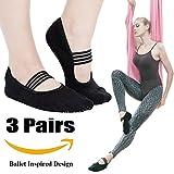 Yoga Socks for Women Non Skid Socks with Grips Barre Socks Pilates Socks for Women (grip socks black(3 pairs))