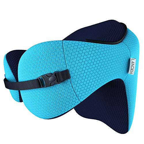 LANGRIA Memory Foam Travel Pillow with Long Haul Detachable Hood Adjustable Neck Size 6-in-1 for All Ages Portable Pocket Included Neck Travel Cushion for Plane Train Car Bus Office (Blue)