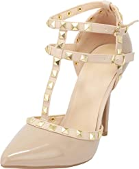 2fb8883d23a Wild Diva Womens Pointy Toe Gold Stud Strappy Ankle T-Strap Stiletto Heel  Pump Sandal
