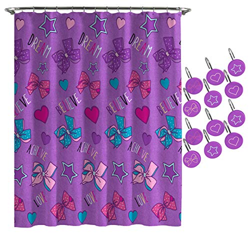 Jay Franco Nickelodeon JoJo Siwa Dream Believe Shower Curtain & 12-Piece Hook Set & Easy Use (Official Nickelodeon Product)