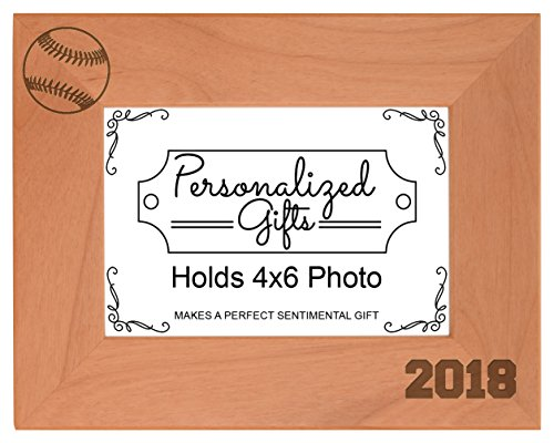 Personalized Gifts Baseball Dad Baseball Mom Gift 2018 Sports Team Photo Frame Wood Engraved 4x6 Landscape Picture Frame
