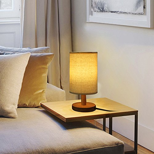 Wood table lamp hqoon bedside table lamps for bedroom living room led night stand lights with for Wooden table lamps for living room