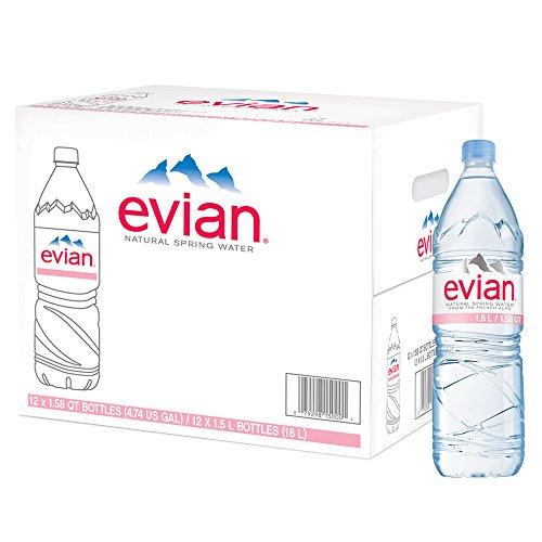 (evian Natural Spring Water 1.5 Liter Plastic Bottles - Pack of 12)