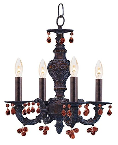 (Antique White / Blue Abbie 4 Light Candle Style Mini Chandelier With Murano Crystal Accents)